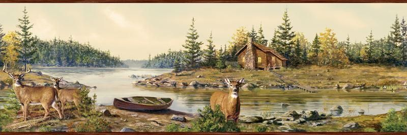 Buck Deer by Rock Stream in Woods Wall Mural Price 99.95