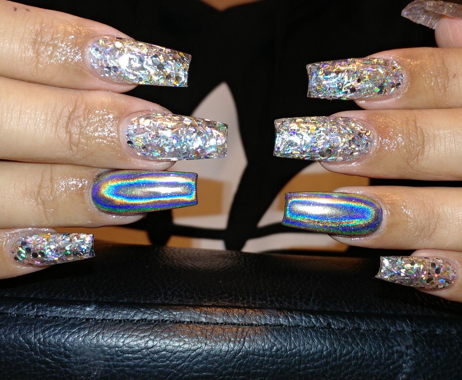 Silver Holographic Glitter Stiletto Nails- Press on Nails