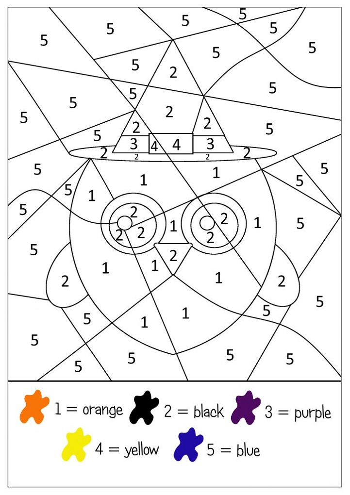 color by number halloween coloring