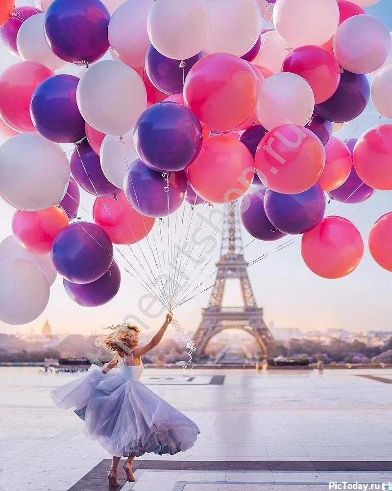 Воздушная девушка с воздушными шарами, картина раскраска ...