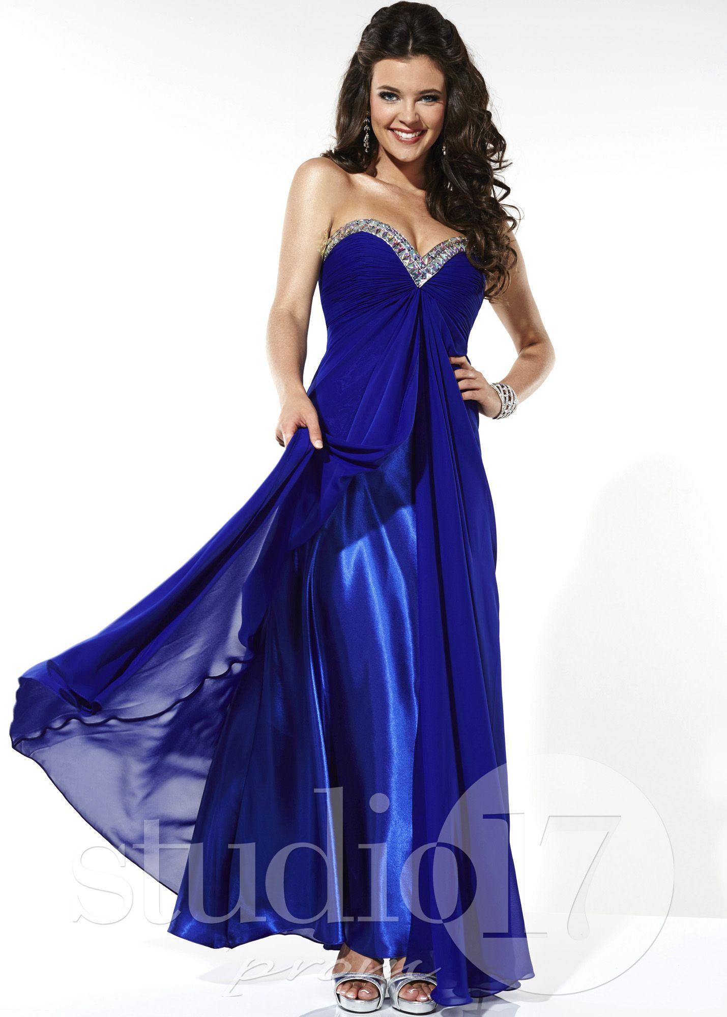 Studio royal blue strapless chiffon prom dresses online