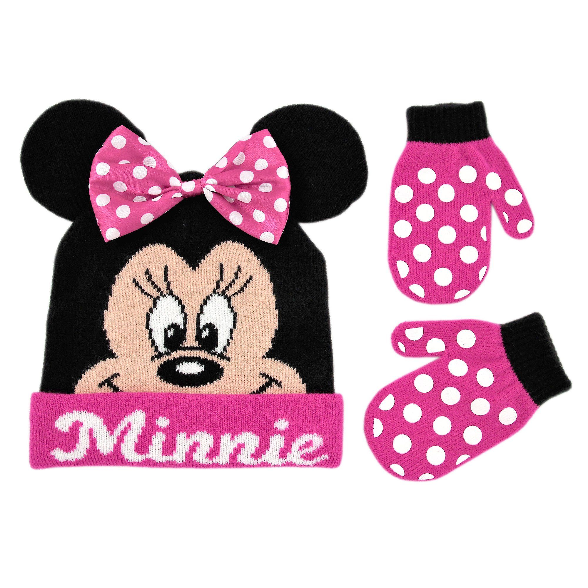384ca73aa20 Disney Toddler Girls Minnie Mouse Bowtique Beanie Hat and Mitten Set ...