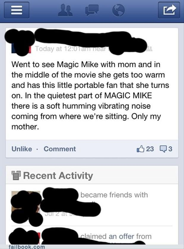 funny magic mike facebook updates, | too funny | Funny