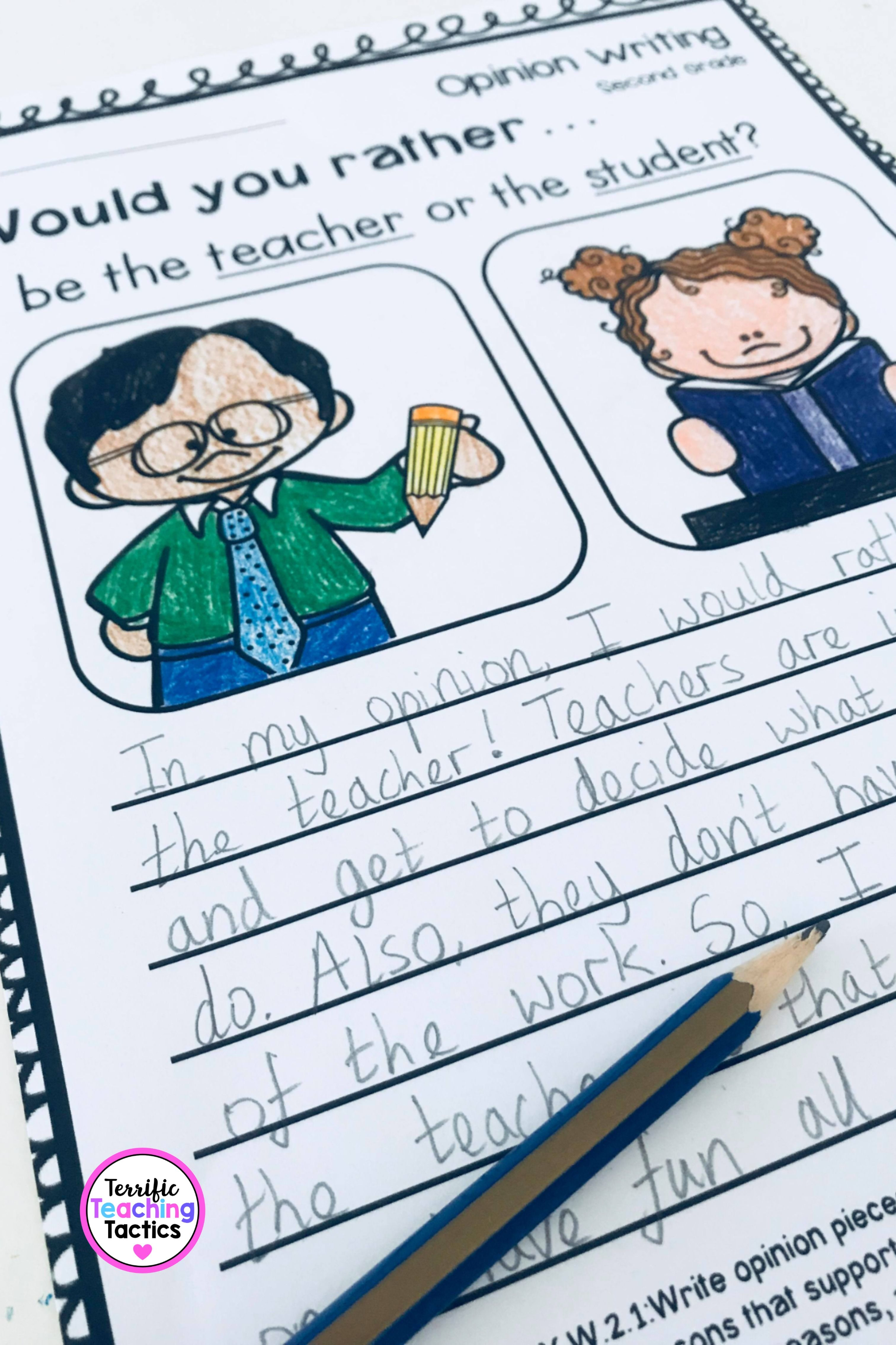 Second Grade Opinion Writing Prompts And Worksheets In