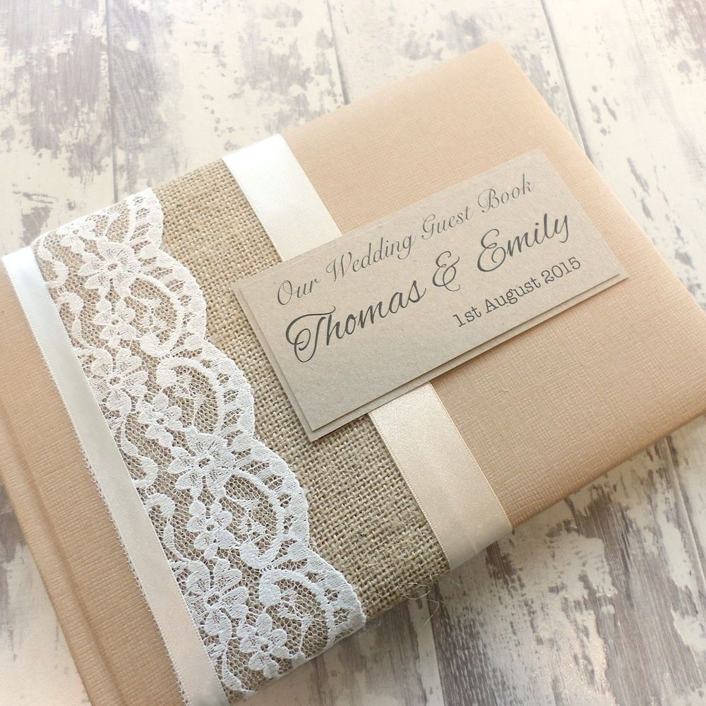 Wedding Book Cover Ideas : Hessian burlap rustic personalised wedding guest book