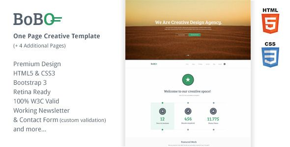 Bobo - One Page Retina Ready Creative Template Credit note - credit note templates