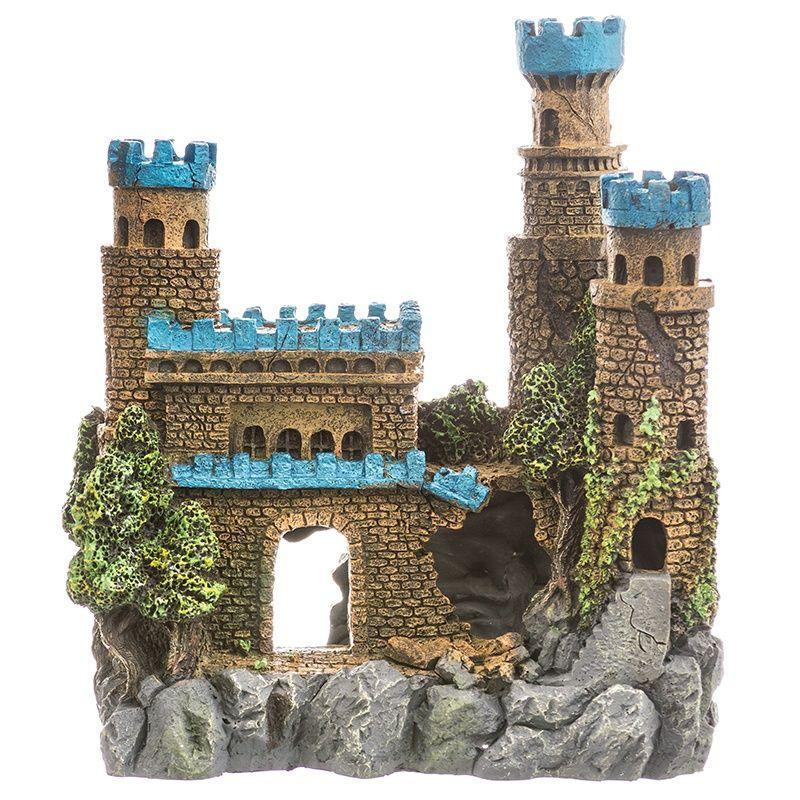 blue ribbon pet products exotic environments blue topped medieval castle aquarium ornament large - Blue Castle Decor