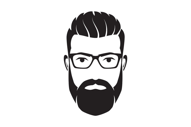 Bearded Men Face Hipster Character Vector Illustration Beard Illustration Male Face Beard Logo