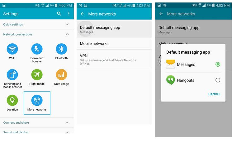 android default app settings Messaging app