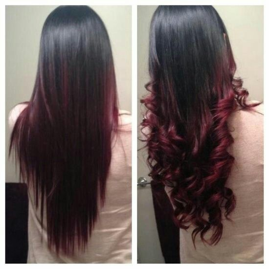 Black Hair With Red Tips Red Ombre Hair Black Hair Ombre Ombre Hair