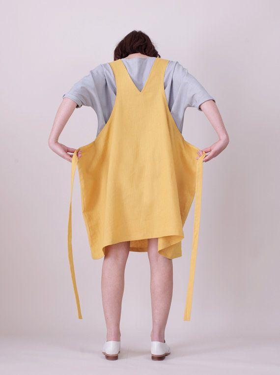 2b56da1eb640 SALE The Good life pinafore Wahsed mustard Linen by Nadinoo ...