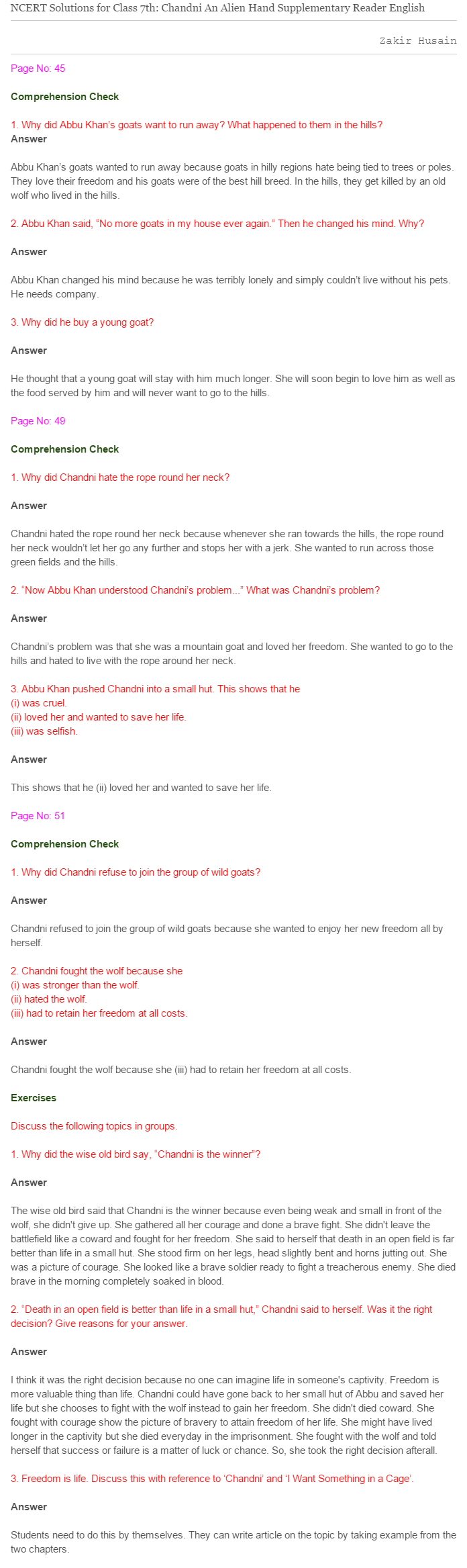 Ncert Solutions For Class 7 English 7 Chandini Solutions Class Chapter [ 2335 x 696 Pixel ]