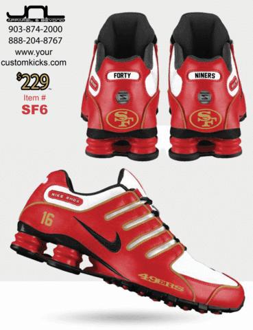2cde8351 Custom San Francisco 49ers Shoes – JNL Apparel | Niners | Nike shox ...