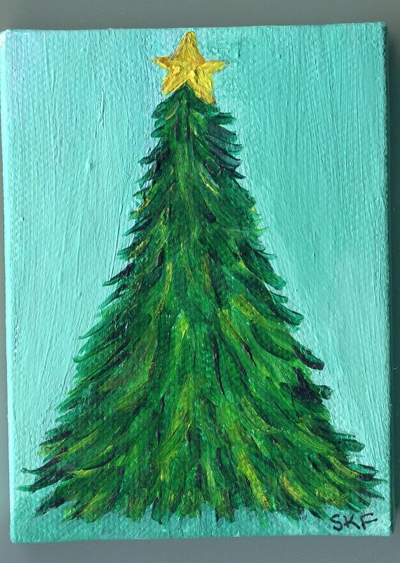 Original christmas tree painting on mini canvas by for Christmas paintings easy