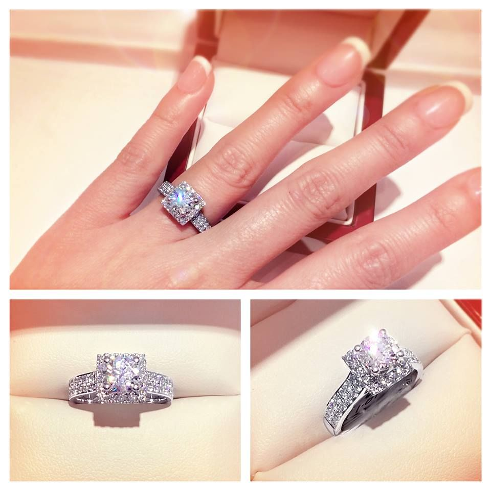 Square halo with twin pavé set engagement ring A medium width band ...