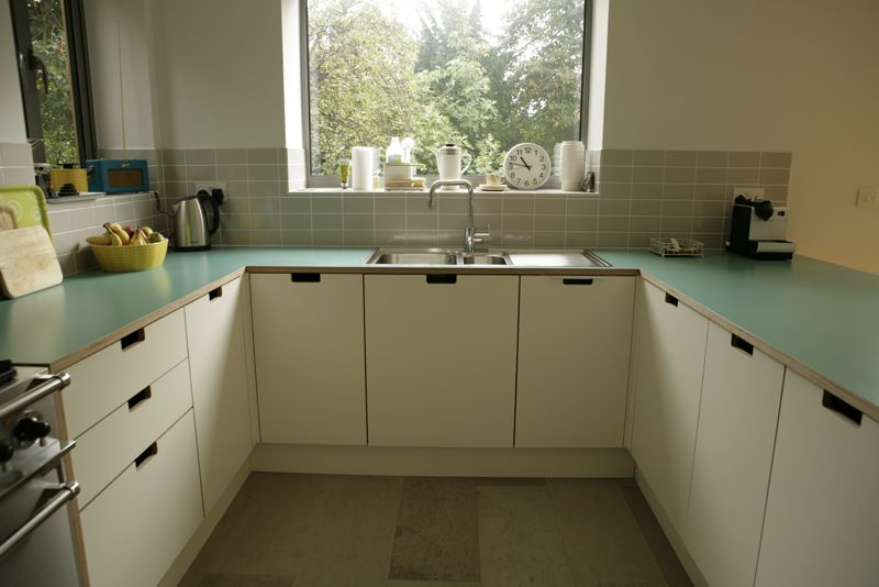 Formica cabinet, worktop and drawers fronts with grab handles ...