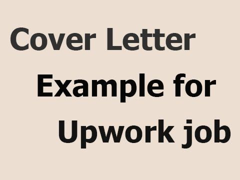Example Of Cover Letter For Upwork Job