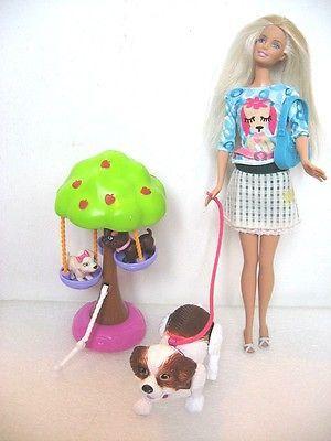 Poupee Barbie Promene Son Chien Qui Marche Chiots
