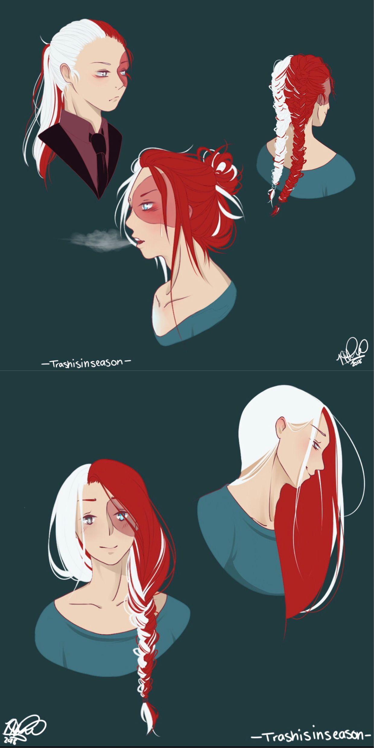 Beautiful Long Haired Todoroki Character Inspiration My Hero Academia Manga Character Design