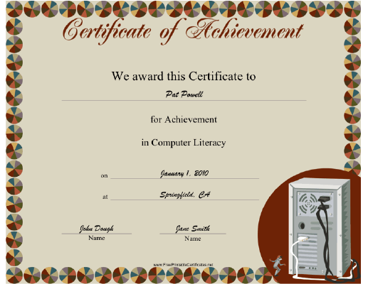 this computer literacy achievement certificate features the back of a desktop computer  showing