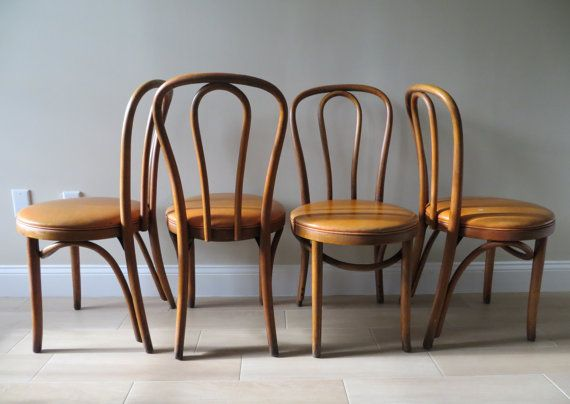 Vintage Mid Century Bentwood Thonet Style Chairs   Bistro Cafe Chairs    Dining Chairs   Vinyl
