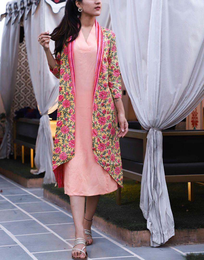 Peach Kurta Pant Set With Floral Shrug Tunic Short Pant And Jacket Set Beautiful Set Of Three Jacke Kurta With Pants Shrug For Dresses Designs For Dresses [ 1083 x 849 Pixel ]