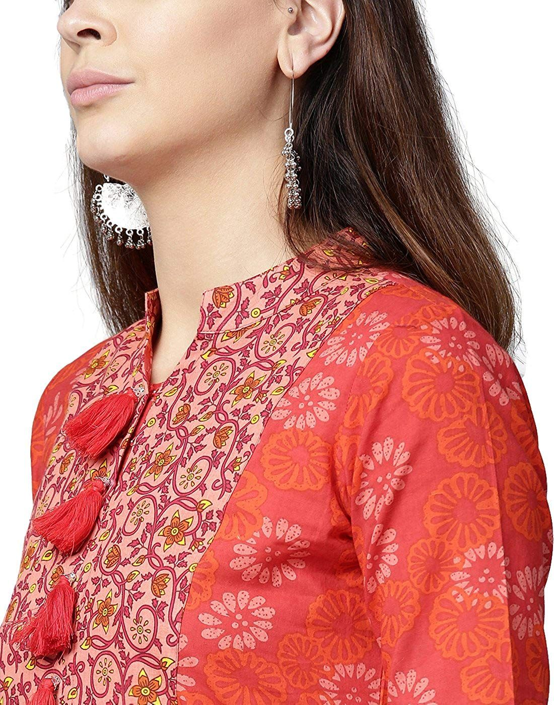 5995078e4fc13 Jaipur Kurti Women Red Floral A-Line Cotton Kurta With Orange Palazzo   Amazon.in  Clothing   Accessories