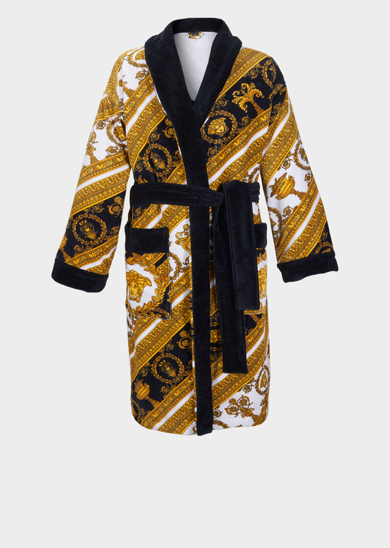 db91a99ec7  700 VERSACE ROBE Baroque Terry Cloth Bathrobe - Versace Home Bathrobes  Adorned with bold Barocco prints and contrasting trims