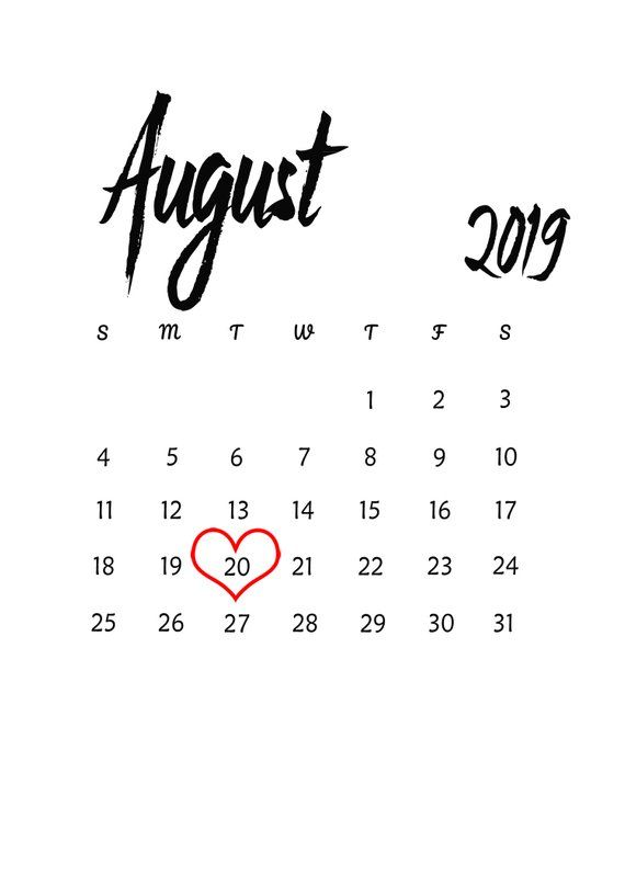 August 2019 Baby Due Date Announcement Printable Calendar Pregnancy