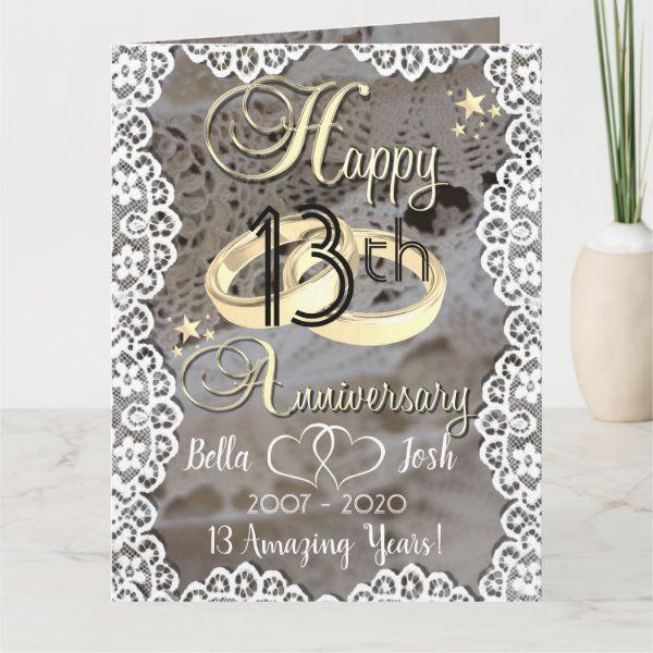 Personalised Lace Theme 13th Wedding Anniversary Card Zazzle Com Wedding Anniversary Cards Anniversary Cards Anniversary Cards For Wife