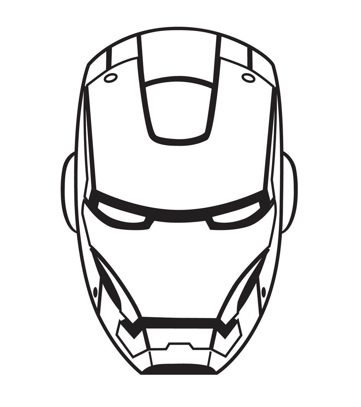 Draw The Masck Of Iron Man Black And White