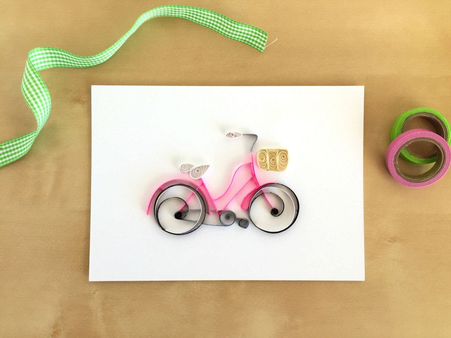 Lovely Quilling Paper Pink Bicycle Home Decor Pink By ThePaperyCraftery