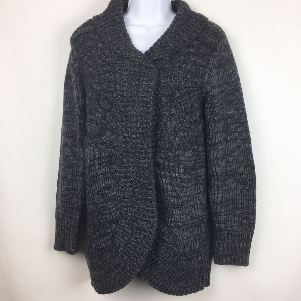Kenar Womens Cardigan Sweater Size M Gray Black Snap Front Long ...