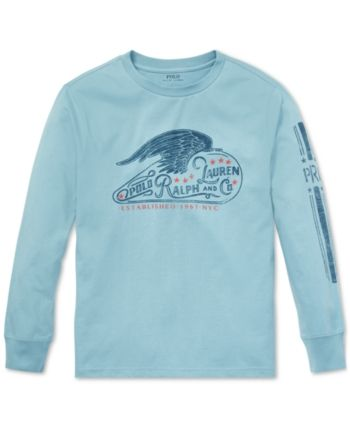 19033f80b Polo Ralph Lauren Big Boys Graphic Long-Sleeve Cotton T-Shirt - Cassidy  Blue XL (18/20)