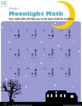 Moonlight Math Worksheet Education Com First Grade Math Worksheets 1st Grade Math Worksheets First Grade Math