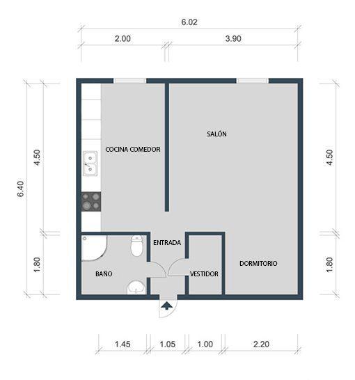 Apartamento de 40 m2 plano de la vivienda planos casas for Distribucion de apartamentos de 40 metros