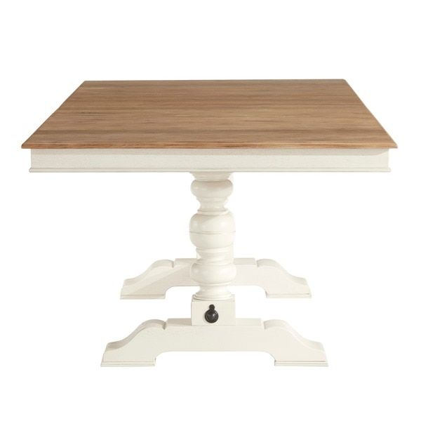McKay Country Antique White Pedestal Extending Dining Table By TRIBECCA HOME