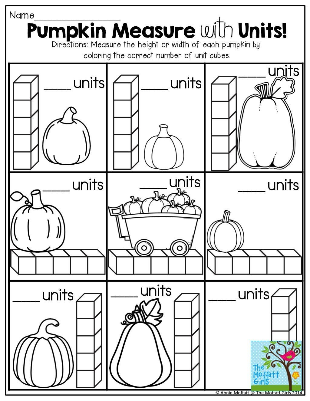 Measurement Worksheet For Kindergarten Pumpkin Measurement