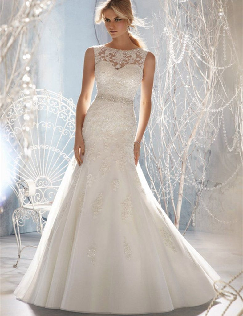 Wedding ivory dress  Wedding Dresses Modest Aline Sheer Sweetheart Applique Lace Beaded