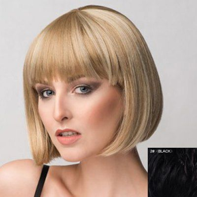 $38.94 (Buy here: http://appdeal.ru/cfvr ) Bob Style Short Capless Stunning Straight Full Bang Real Natural Hair Wig For Women for just $38.94
