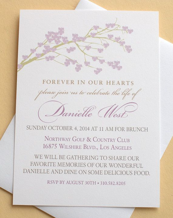 Celebration of Life Invitations with a Branch of Pink Blossoms ...