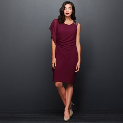 INDIANA BEADED SHIFT DRESS - Merlot by Diana Ferrari, perfect waist definition and detail to the shoulder and arm coverage.