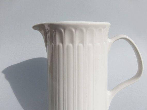 Vintage Mid Century porcelain pitcher, Danish style white vintage jug, Spanish china vintage vase