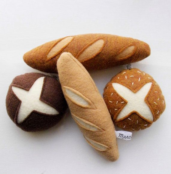 4 pack felt bread rolls and mini baguettes