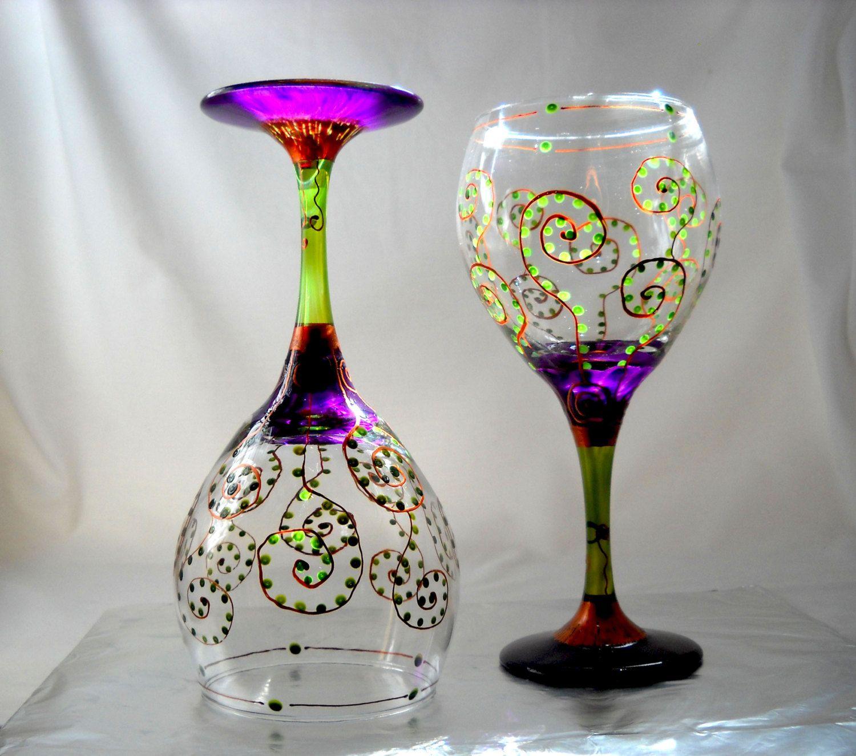 Amethyst Wines Hand Painted Glassware Purple Fern Fronds. $45.00, via Etsy.