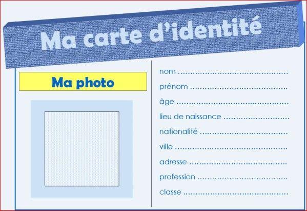 carte d identité vierge à remplir Je me présente | Carte d'identité, Carte identité enfant, Carte