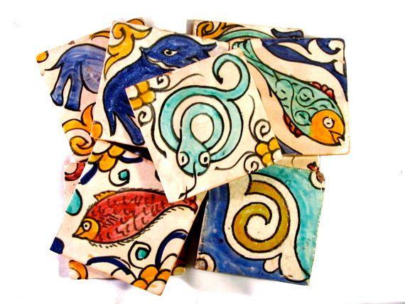 Vintage handmade moroccan tiles