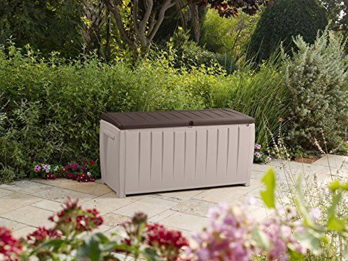 Outdoor Deck Storage Box 90 Gal Capacity Brown Flat Top Extra Seating Patio Pool Spring Must Have Deck Storage Plastic Decking Deck Box