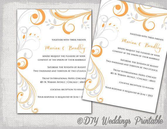 Printable Wedding invitation templates Orange and Silver gray