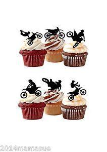 PRECUT Motocross 12 Edible Cupcake Toppers Birthday cake Decorations Boys Mens